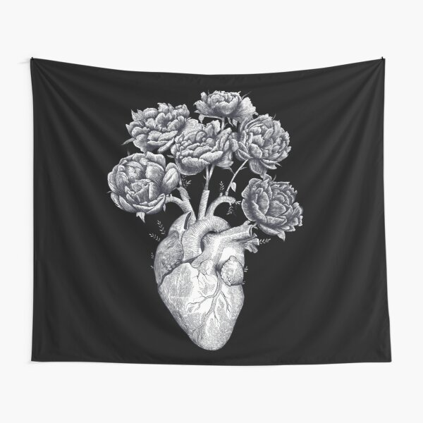 Heart with peonies B&W on black Tapestry