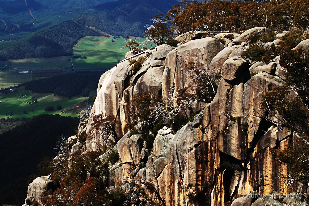 Rock formation from the lookout at Mount Buffalo by Andrew Clinkaberry