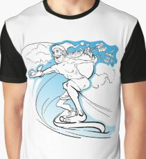 Careless slim Santa surfing the wave and loosing the gifts from his huge sack Graphic T-Shirt