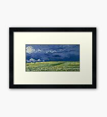 Wheatfield under thunderclouds by Vincent van Gogh Framed Print