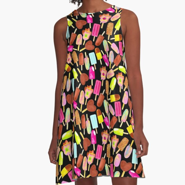 Aussie Ice Creams - Scatter - Black A-Line Dress