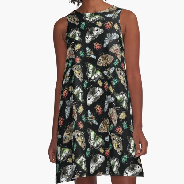 Lino Print Bugs and Insects A-Line Dress