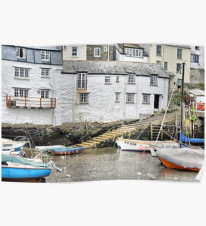 Harbour Steps at Polperro Poster