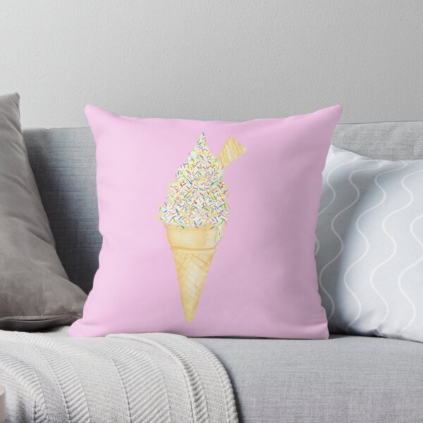 Soft Serve with Sprinkles - Pink Throw Pillow