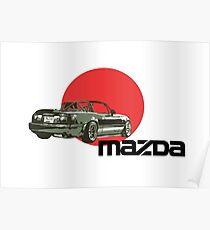 Mazda Miata Red Sun Poster