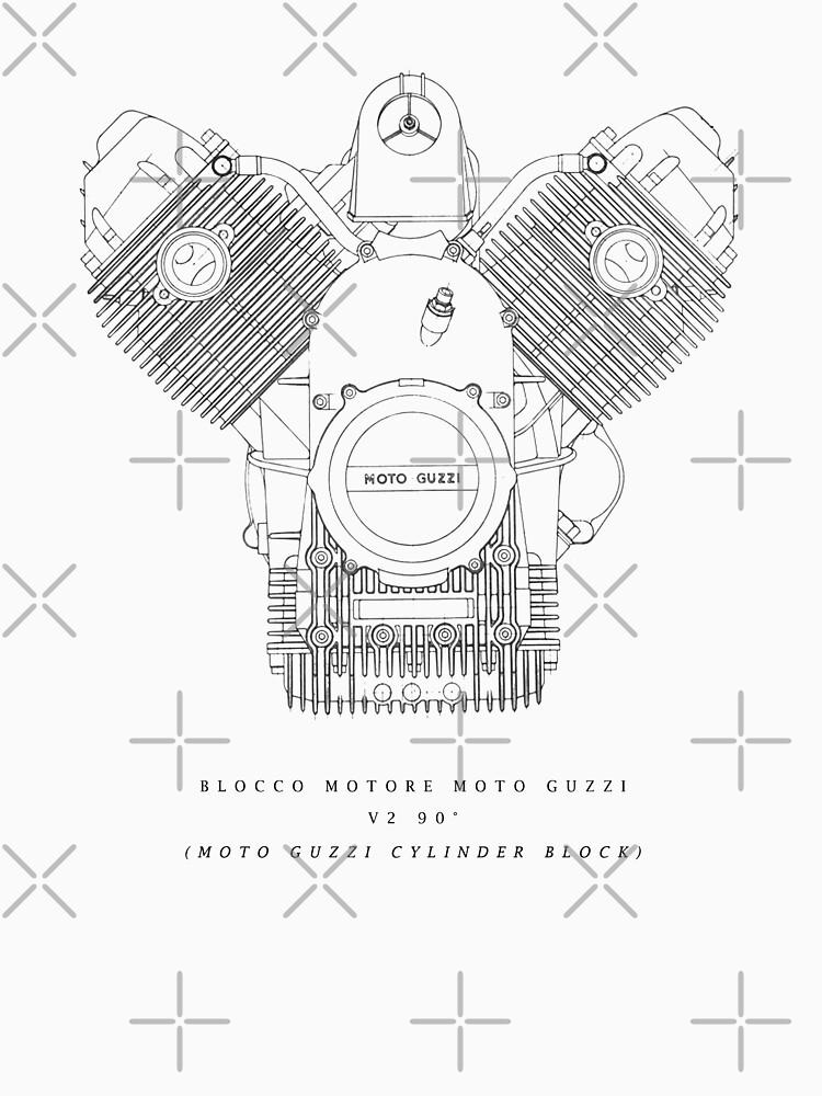 Original Technical Drawing Moto Guzzi Engine Poster Blocco Motore