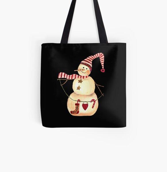 Vintage snowman All Over Print Tote Bag
