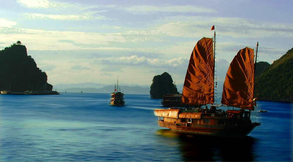 An Old Junk, Halong Bay, Vietnam by Simmone