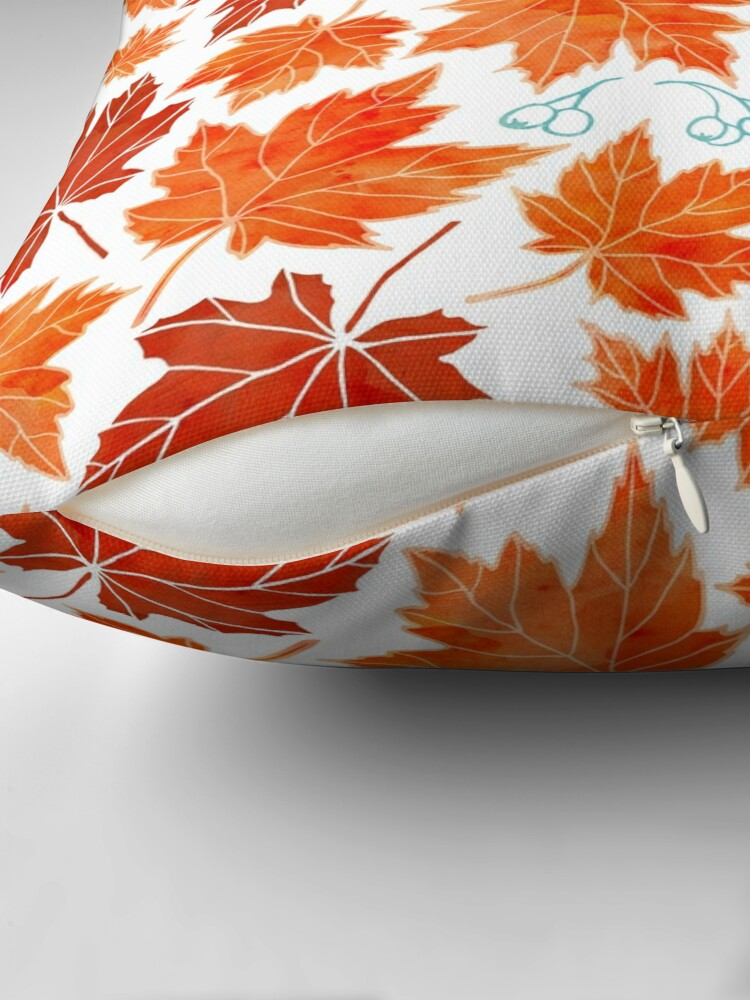 Alternate view of Autumn leaves against white Throw Pillow