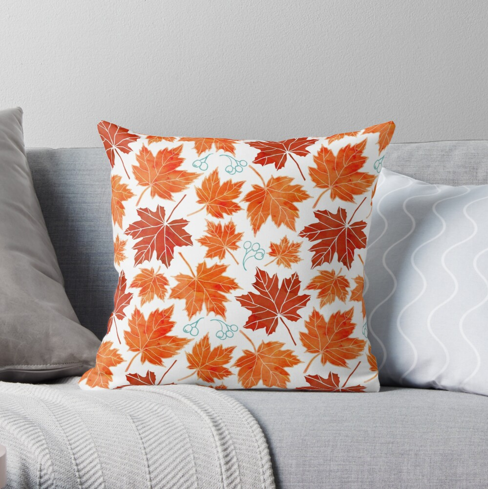 Autumn leaves against white Throw Pillow