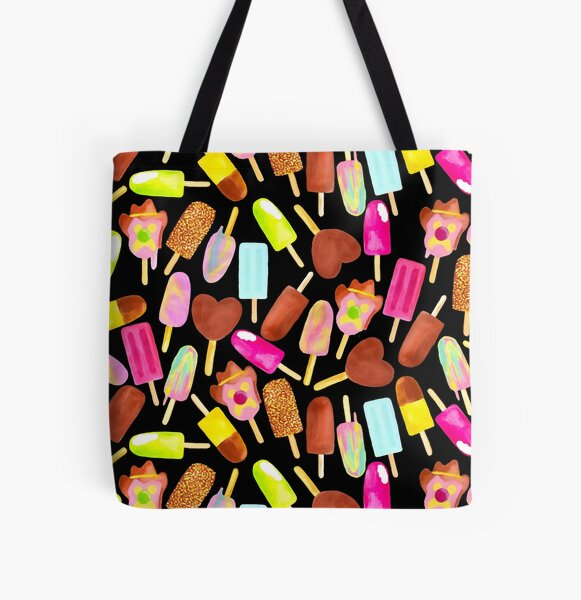Aussie Ice Creams - Scatter - Black All Over Print Tote Bag