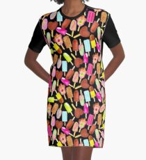Aussie Ice Creams - Scatter - Black Graphic T-Shirt Dress