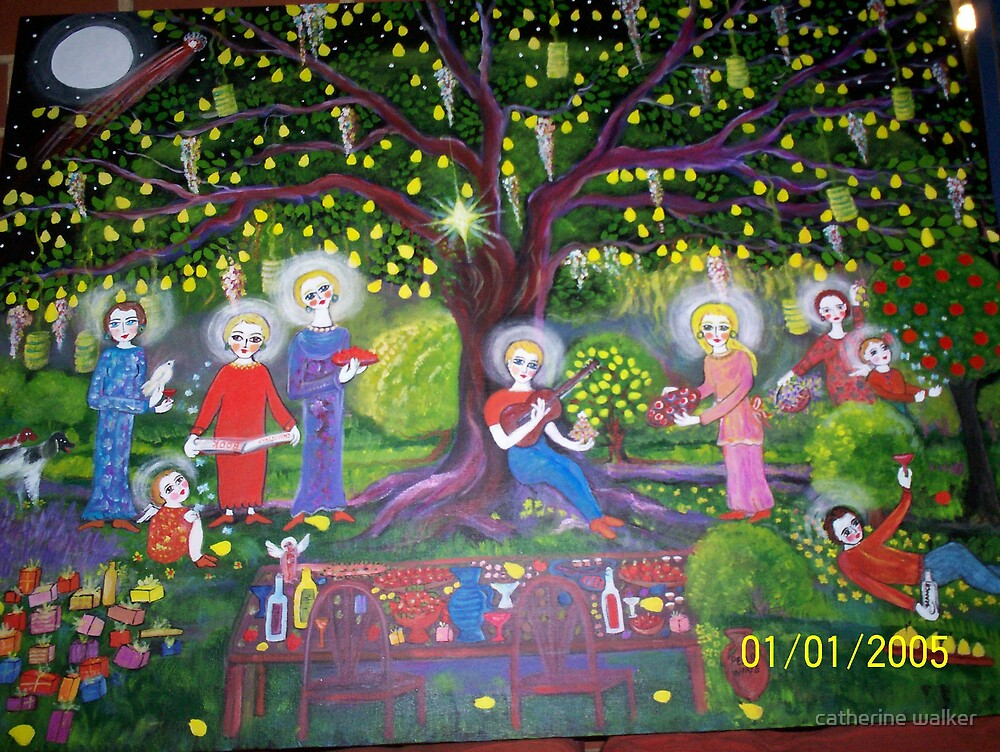 NEW... second version- Under the old pear tree at christmas  by catherine walker