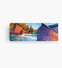 Painterly Red Mill | Clinton NJ | Raritan River Canvas Print