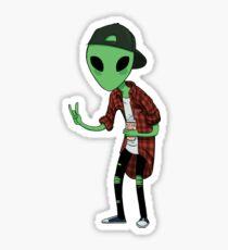 Grunge Alien  Sticker