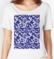 Navy Blue White Doves Women's Relaxed Fit T-Shirt