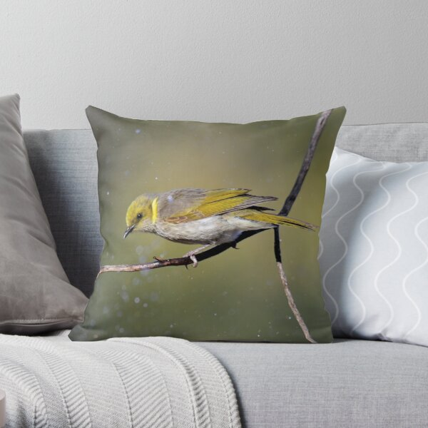 Bath time- Yellow Plumed Honeyeater Throw Pillow