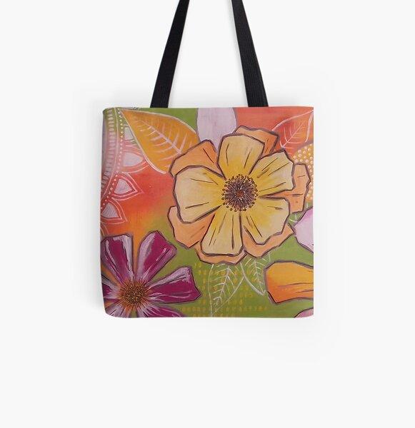 flowerlove orange Allover-Print Tote Bag