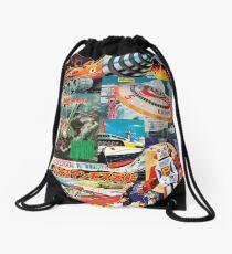 Retro Future Past - Japanese Style - Collage Drawstring Bag