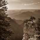Sun Setting on Grand Canyon Arizona - Sepia by Gregory Ballos