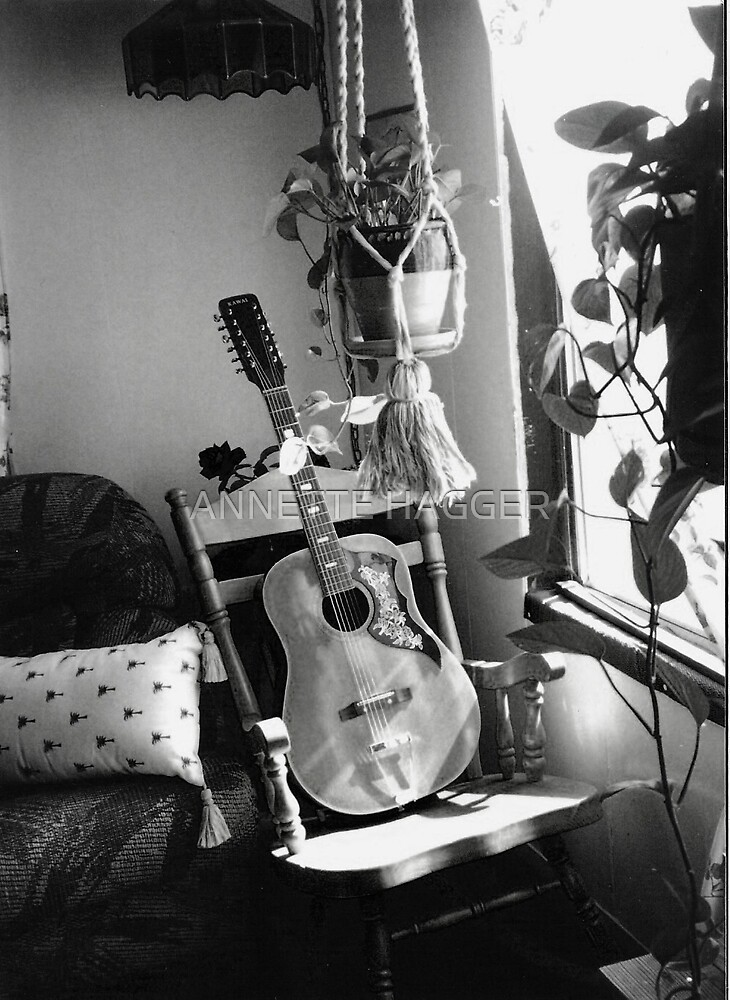 GUITAR - BLACK AND WHITE by ANNETTE HAGGER