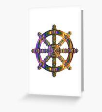 Dharma wheel Buddhist chromatic purple Greeting Card