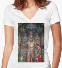 Saint Pio Women's Fitted V-Neck T-Shirt