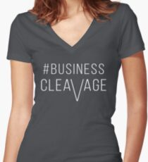 #BusinessCleavage Women's Fitted V-Neck T-Shirt