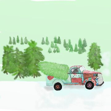 rusty old truck with Christmas tree by Valiante
