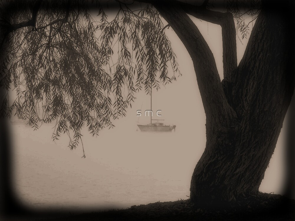sailboat in the fog by s m c