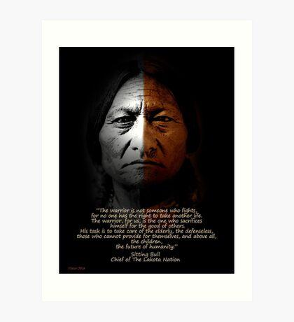 Sitting Bull Warrior Zitat. Poster Kunstdruck
