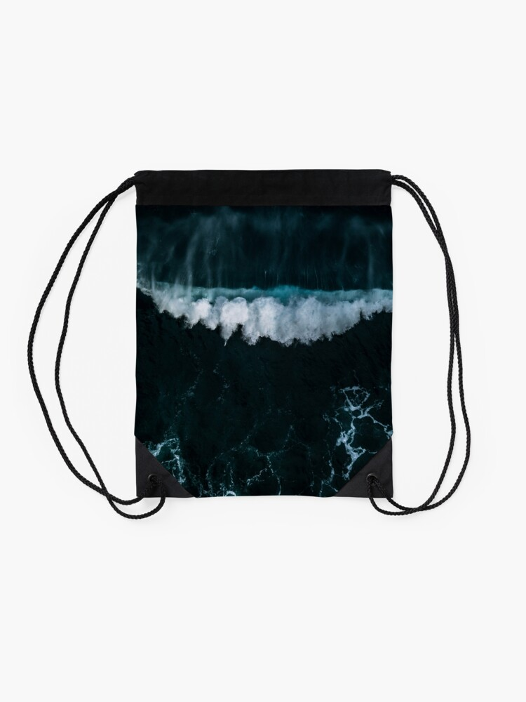 Alternate view of Wave in Motion - Ocean Photography Drawstring Bag