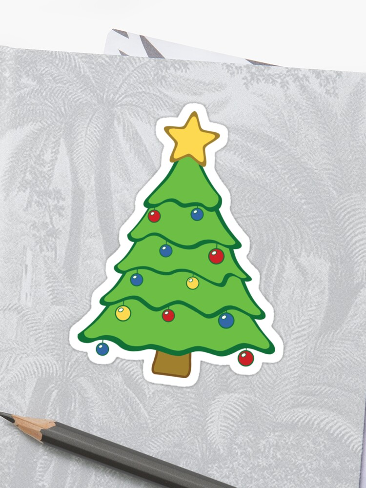 Christmas Tree Emoji With Star Ornaments Sticker By Reutmor Redbubble