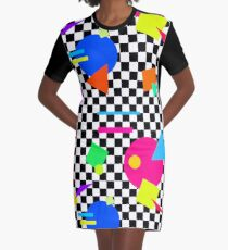 Retro Shapes On Black & White Check - 80s 80's 1980s 1980's 1980 Classic Throw Back - Retro Shapes #1 Graphic T-Shirt Dress