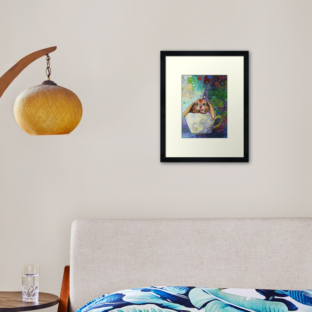 Bunny in a Teacup Painting - 2010 Framed Art Print