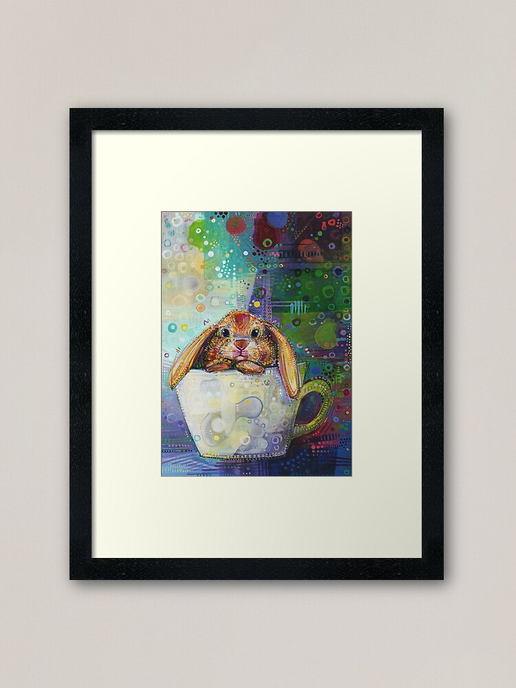 Alternate view of Bunny in a Teacup Painting - 2010 Framed Art Print