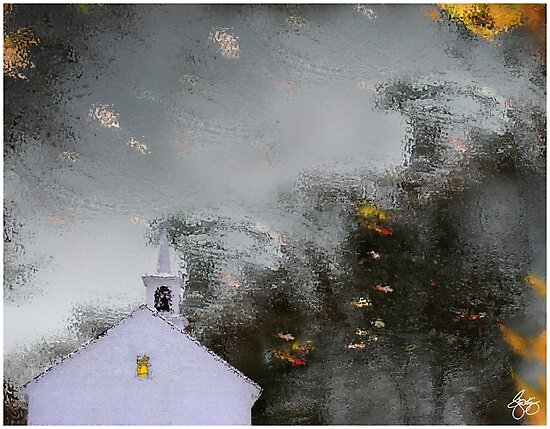 Reflections Of A Chapel In Autumn Water by Wayne King