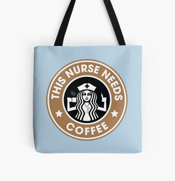 Esta enfermera necesita regalos graciosos de la enfermera registrada del café Bolsa estampada de tela