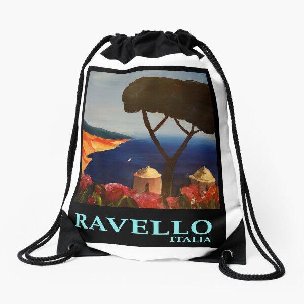 Ravello Italy retro poster Drawstring Bag