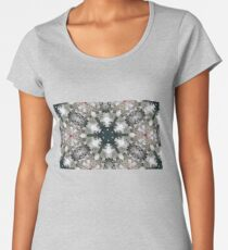 Evergreen Snowflakes with Lacy White and Red Accents - 3D Photo Image Collage Women's Premium T-Shirt