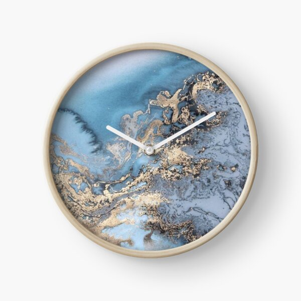 Blue and Gold Marble Clock