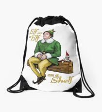 Elf on an Elf on a Shelf Drawstring Bag