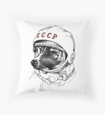 Laika, space traveler Throw Pillow