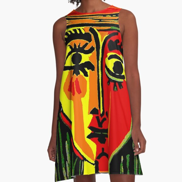 LADY in RED : Vintage Abstract Fantasy Painting Print A-Line Dress