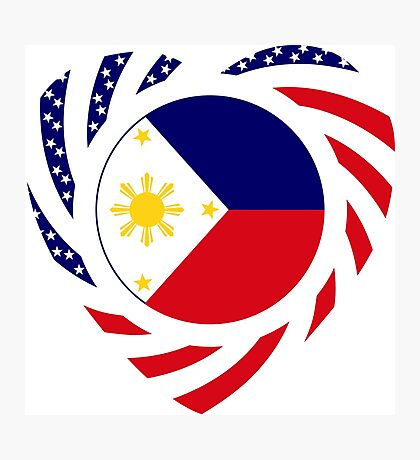 Filipino American Multinational Patriot Flag Series (Heart) Photographic Print