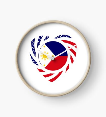 Filipino American Multinational Patriot Flag Series (Heart) Clock