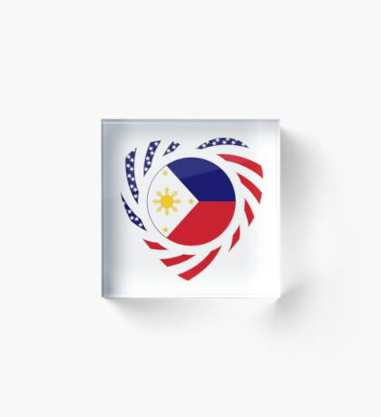 Filipino American Multinational Patriot Flag Series (Heart) Acrylic Block