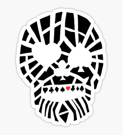 Fractured Poker Skull Glossy Sticker