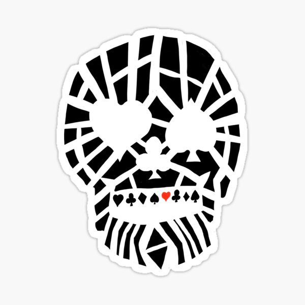 Fractured Poker Skull Sticker