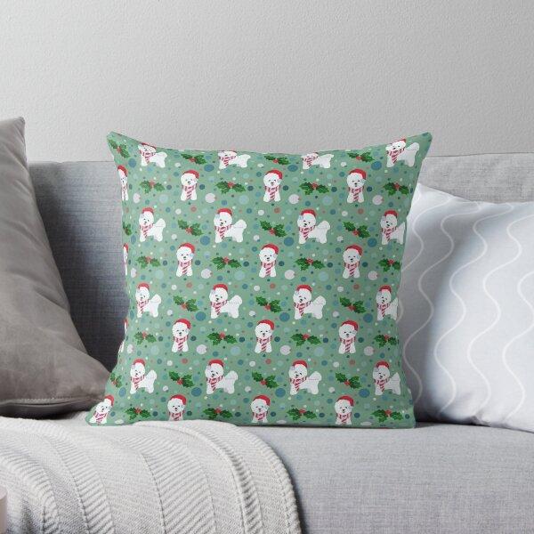 Bichon Frise dog Christmas pattern Throw Pillow